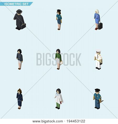 Isometric Person Set Of Girl, Pedagogue, Policewoman And Other Vector Objects. Also Includes Policewoman, Detective, Officer Elements.