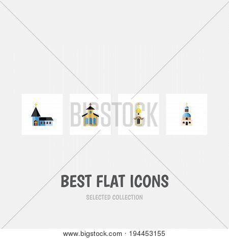 Flat Icon Church Set Of Structure, Christian, Church And Other Vector Objects. Also Includes Church, Structure, Catholic Elements.