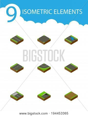 Isometric Road Set Of Plash, Footpath, Road And Other Vector Objects. Also Includes Road, Asphalt, Plane Elements.
