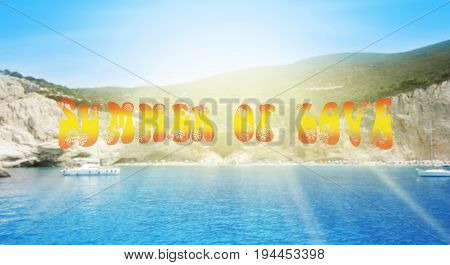 Summer Of Love Concept. Porto Katsiki Beach In Lefkada Island, Greece. Blured Background With Text S