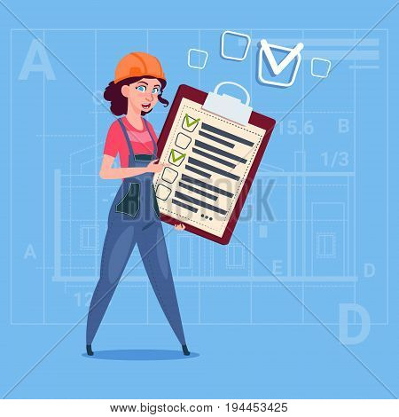 Cartoon Female Builder Carpenter Hold Checklist Construction Worker Over Abstract Plan Background Flat Vector Illustration