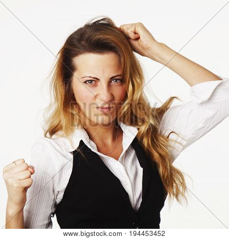 I'm very angry!!! Nervous businesswoman standing clenching his fists ready to fight and disputes. (Work office life leadership conflict body language gestures concept)