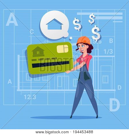 Cartoon Woman Builder Hold Credit Card Sell House Real Estate Over Abstract Plan Background Male Workman Flat Vector Illustration