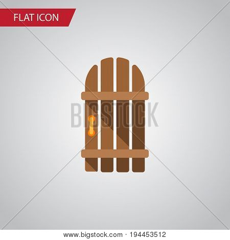 Isolated Gate Flat Icon. Wooden Fence Vector Element Can Be Used For Wooden, Fence, Gate Design Concept.