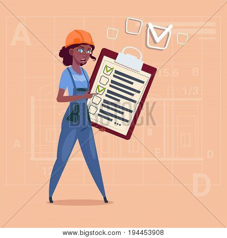 Cartoon Female Builder Carpenter Hold Checklist African American Construction Worker Over Abstract Plan Background Flat Vector Illustration