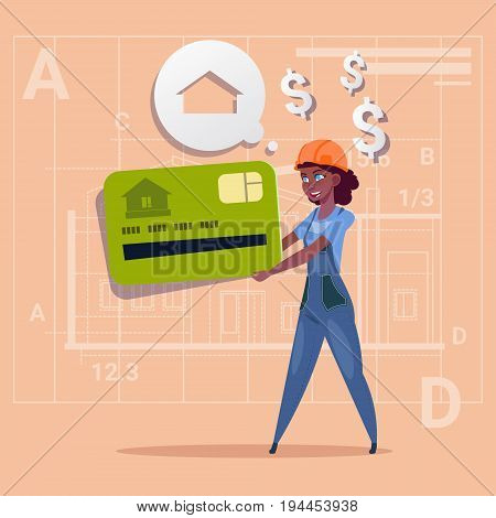 Cartoon Woman Builder Hold Credit Card Sell House Real Estate Over Abstract Plan Background African American Female Workman Flat Vector Illustration
