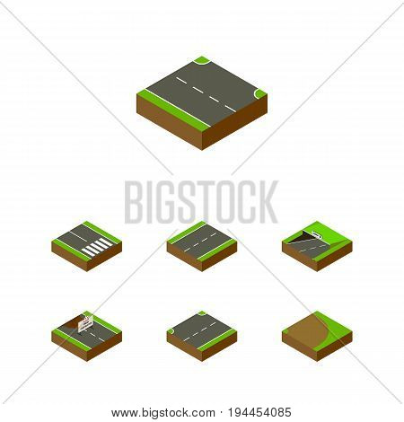 Isometric Way Set Of Rightward, Subway, Pedestrian And Other Vector Objects. Also Includes Driveway, Subway, Under Elements.