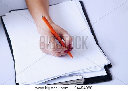businesswoman planning her workday. Time management concept. (Freedom freelance success money)
