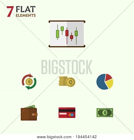 Flat Icon Gain Set Of Billfold, Cash, Greenback And Other Vector Objects. Also Includes Swap, Billfold, Pocketbook Elements.
