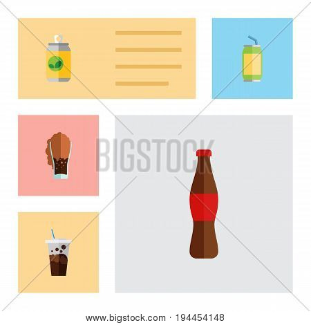 Flat Icon Beverage Set Of Cola, Soda, Carbonated And Other Vector Objects. Also Includes Soda, Drink, Bottle Elements.
