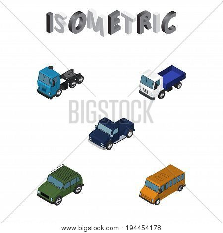 Isometric Car Set Of Autobus, Lorry, Suv And Other Vector Objects. Also Includes Lorry, Pickup, Motor Elements.