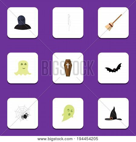 Flat Icon Halloween Set Of Skeleton, Phantom, Superstition And Other Vector Objects. Also Includes Arachnid, Specter, Ghost Elements.