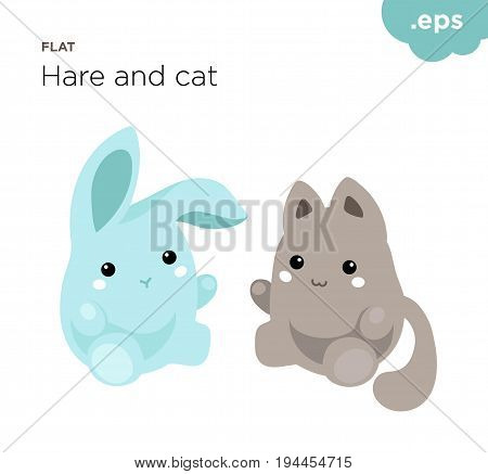 Cute animals hare and cat flat. Round cartoon animals hare and cat