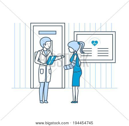 Healthcare and medical help. Girl with hand injury, at reception with surgeon's doctor, in front of reception room in hospital. Illustration thin line design of vector doodles, infographics elements.