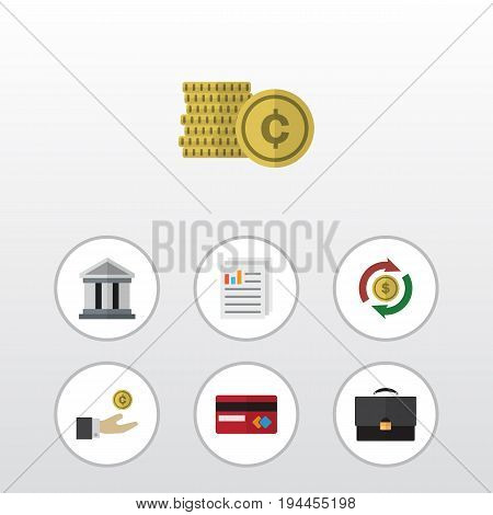 Flat Icon Incoming Set Of Bank, Hand With Coin, Interchange Vector Objects. Also Includes Cash, Diplomat, Exchange Elements.