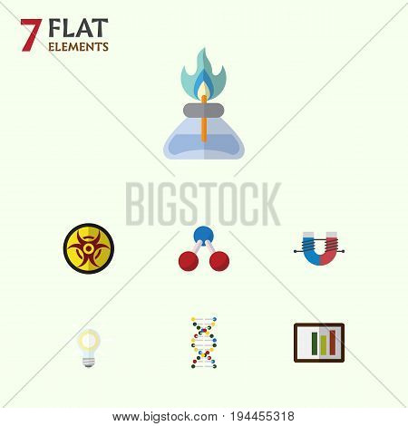 Flat Icon Science Set Of Attractive Force, Danger, Flame And Other Vector Objects. Also Includes Genome, Magnet, Bulb Elements.