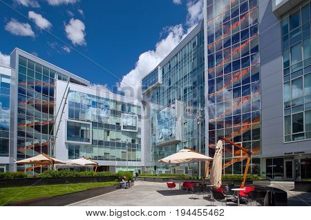 Moscow Russia - June 28 2017: Headquarter of Yandex company at day time. The courtyard of the company of Yandex modern design architecture in the center of Moscow