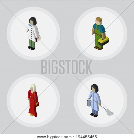 Isometric Human Set Of Housemaid, Doctor, Plumber And Other Vector Objects. Also Includes Doctor, Cleaner, Plumber Elements.