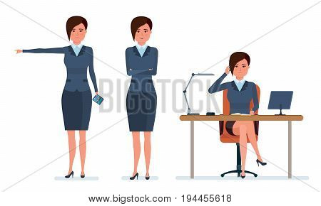 Businesswoman in office work situations. Office worker communicates with clients by phone, research statistics, calculates. Womens character working in office. Cartoon vector illustration