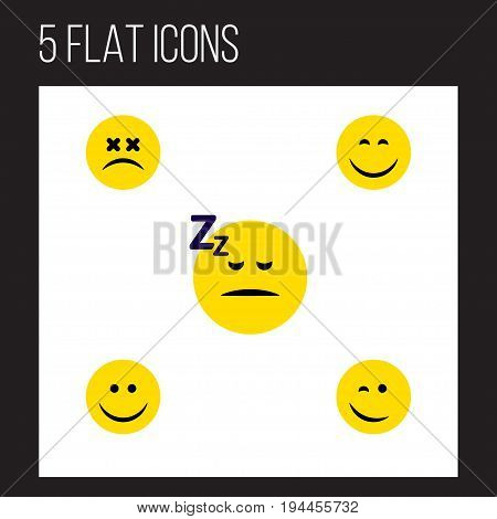 Flat Icon Emoji Set Of Joy, Smile, Asleep And Other Vector Objects. Also Includes Winking, Happy, Emoticon Elements.