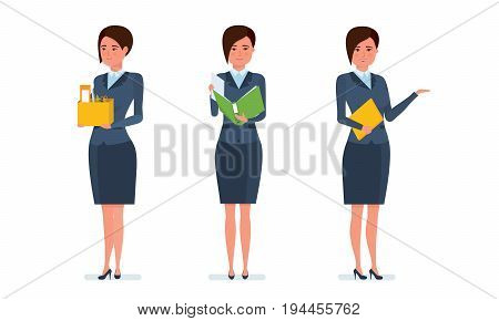 Businesswoman in office work situations concept. Work with documents, statistics, accounting, reports. Management, strategic planning. Womens character working in office. Cartoon vector illustration