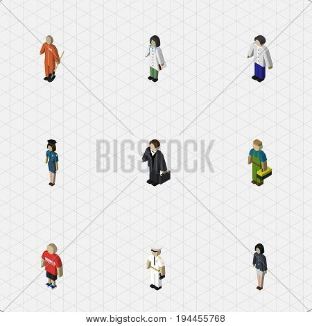 Isometric Person Set Of Investor, Male, Seaman And Other Vector Objects. Also Includes Seaman, Girl, Technician Elements.