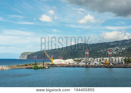 Le Port Reunion Island France - December 24 2015: Industrial Factories in the Le Port on Reunion island France.