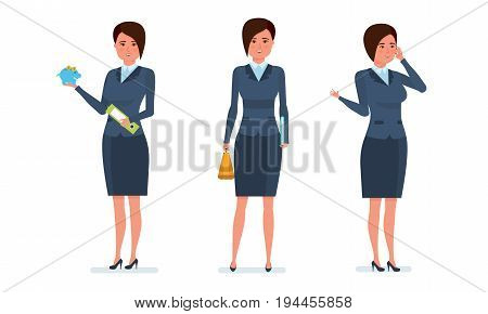 Businesswoman in office work situations concept. Office worker communicates with clients by phone, research statistics, calculates. Womens character working in office. Cartoon vector illustration