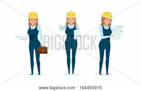Chief engineer woman character set. Woman architect worker with documents, studying project, technical documentation, drawings and estimates. Cartoon illustration isolated on white background.