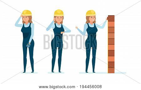 Chief engineer woman character. Architect worker in working clothes. Construction building. Control over process, personnel management, calculations, analysis. Vector illustration isolated.