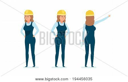 Chief engineer woman character. Woman architect worker in working clothes. Control over process, personnel management, calculations, technical, technological analysis. Cartoon illustration isolated.