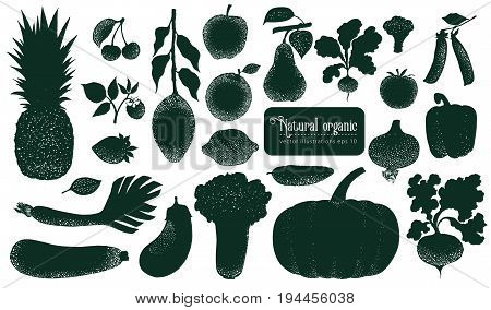 Vector fruita and vegetables silhouettes. Retro illustrations. Hand drawn nature objects.