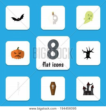 Flat Icon Halloween Set Of Cranium, Fortress, Terrible Halloween And Other Vector Objects. Also Includes Casket, Castle, Phantom Elements.