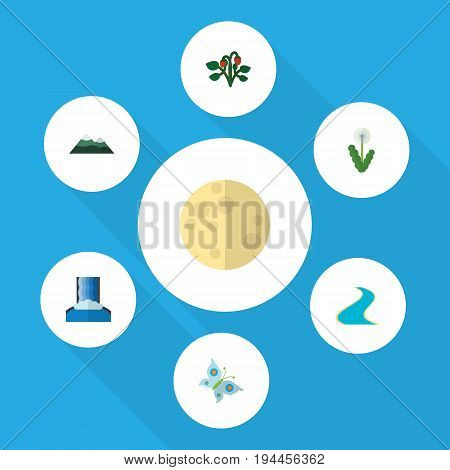 Flat Icon Ecology Set Of Berry, Monarch, Lunar And Other Vector Objects. Also Includes River, Fruit, Berry Elements.