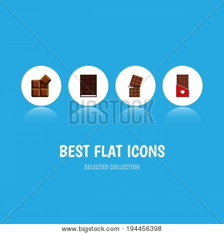 Flat Icon Bitter Set Of Chocolate, Cocoa, Wrapper And Other Vector Objects. Also Includes Wrapper, Chocolate, Shaped Elements.