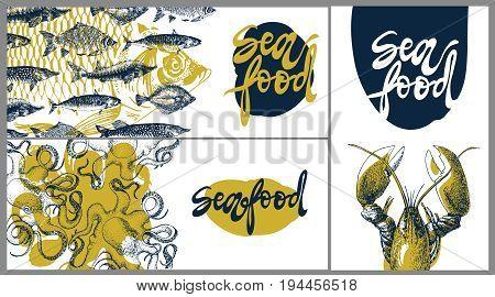 Seafood vintage vector design template, banners set. Seafood vector illustration hand drawn linear art. Restaurant menu.