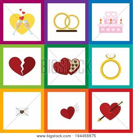 Flat Icon Amour Set Of Engagement, Patisserie, Shaped Box And Other Vector Objects. Also Includes Arrow, Mail, Cake Elements.