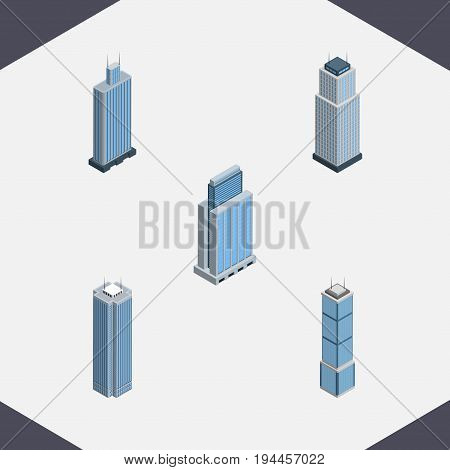 Isometric Construction Set Of Urban, Business Center, Tower And Other Vector Objects. Also Includes Tower, Skyscraper, Apartment Elements.