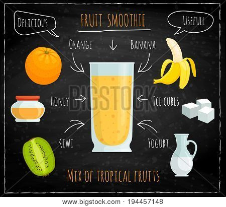 Vector recipe for fruit smoothies. A cocktail of tropical fruits on a chalkboard background. Delicious non-alcoholic drink with the image of the ingredients. Illustration for restaurants bars menu.