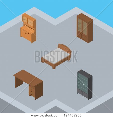 Isometric Furnishing Set Of Bedstead, Table, Sideboard And Other Vector Objects. Also Includes Bed, Cupboard, Sideboard Elements.