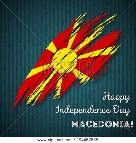 Macedonia Independence Day Patriotic Design. Expressive Brush Stroke In National Flag Colors On Dark