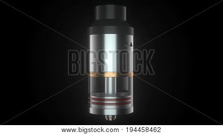Rebuildable dripping atomizer for vape clouds. 3d illustration