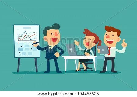 Business team working together in office. Business leader discussing business strategy with his team.