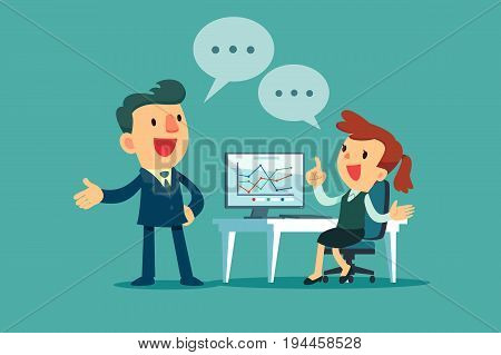 Businessman and businesswoman working together discussing business strategy at office desk.