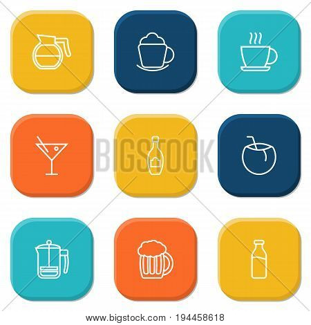 Set Of 9 Drinks Outline Icons Set.Collection Of French Press, Coffeepot, Beer And Other Elements.