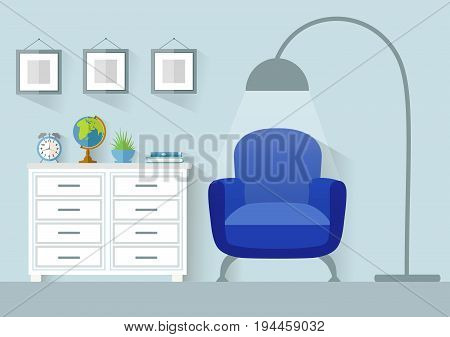 Vector interior. Design of a recreation area with furniture. Living room in a flat style.