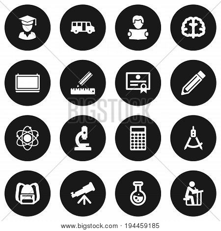 Set Of 16 Studies Icons Set.Collection Of Drawing Tool, Microbiology, Reading And Other Elements.