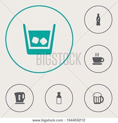 Set Of 6 Beverages Icons Set.Collection Of Electric Teapot, Cup, Cognac And Other Elements.