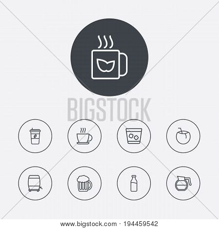 Set Of 9 Beverages Outline Icons Set.Collection Of Dairy, Mug, Coffeepot And Other Elements.