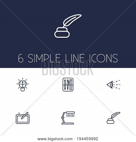 Set Of 6 Constructive Outline Icons Set.Collection Of Brain, Drawing Tools, Table Lamp And Other Elements.